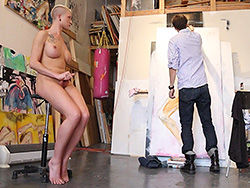 Painting with danni. Naughty Danni posing for the artist