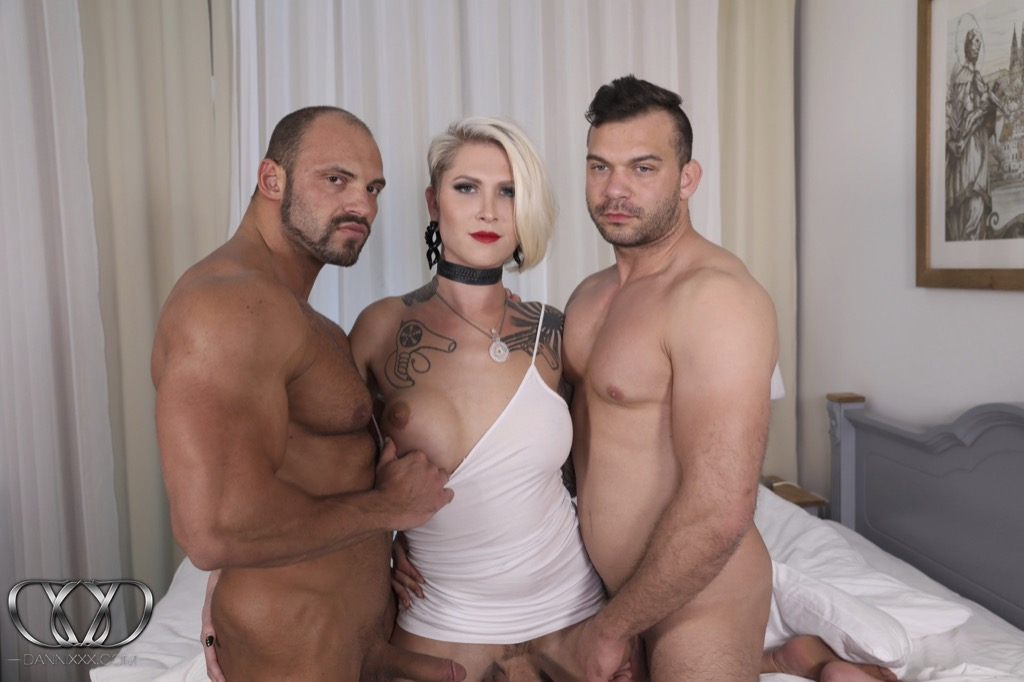 Danni gets ravaged by two huge dicks fighting over who fucks